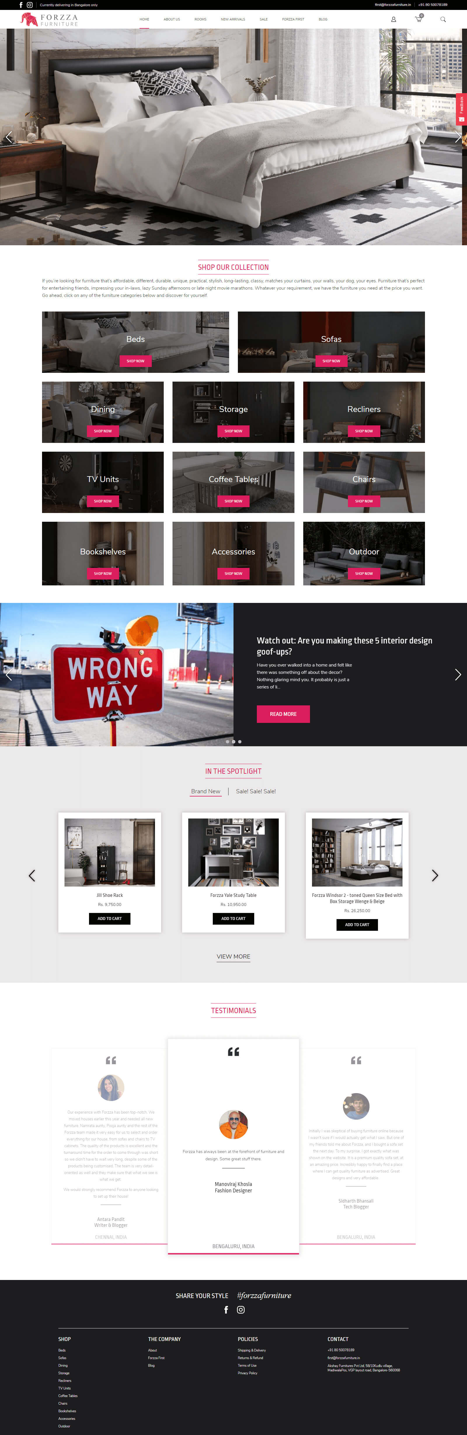 Forzza Furniture - Shopify Development